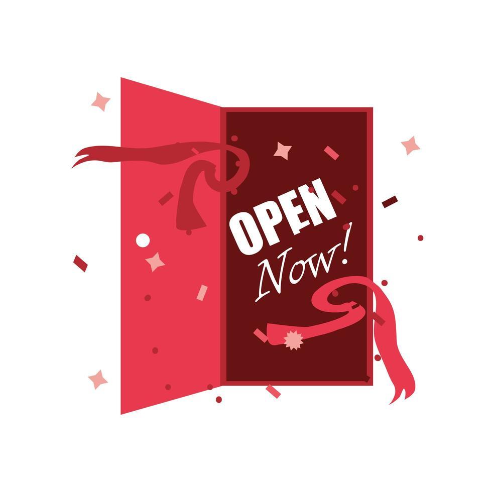 open nu linten met open deur vector