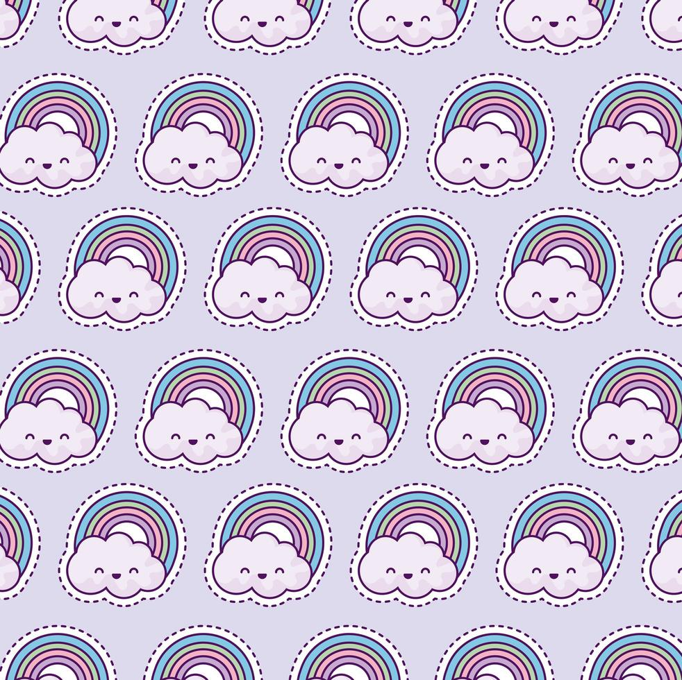patroon met regenboog en wolken, patch-stijl vector