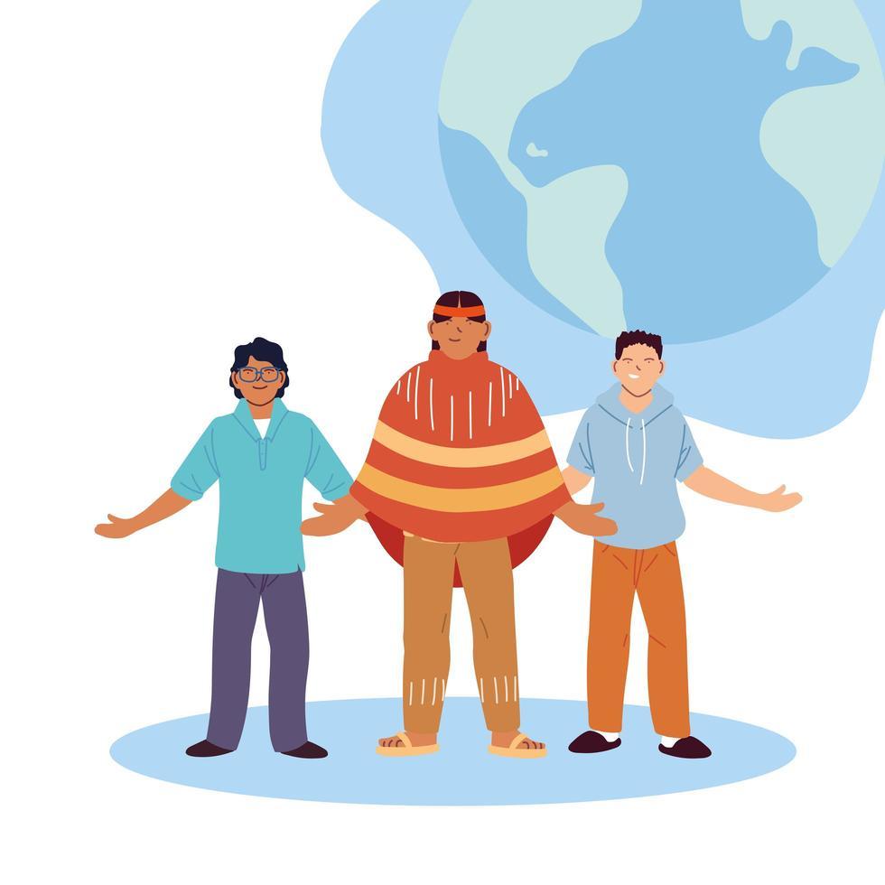 VS Indiase man en mannen cartoons met wereld bol vector ontwerp