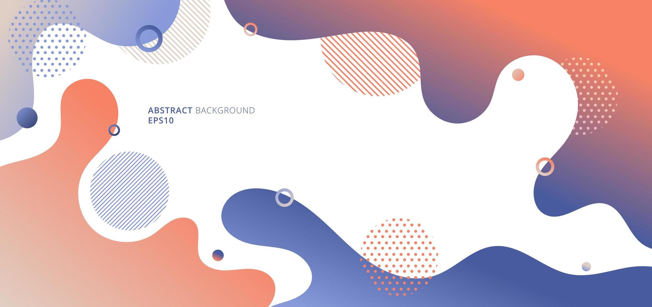 abstracte moderne vloeibare of vloeibare gradiëntkleuren met geometrische elementen op witte achtergrond vector