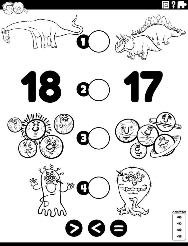 groter minder of gelijk spel voor kinderen kleurboekpagina vector