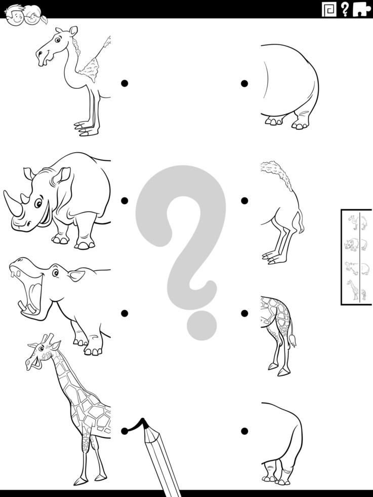 match helften van safari dieren foto's kleurboek pagina vector