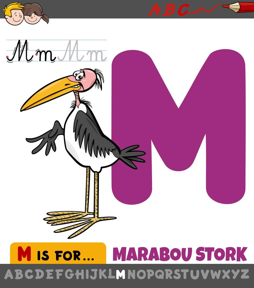 letter m werkblad met cartoon maraboe ooievaar vogel vector