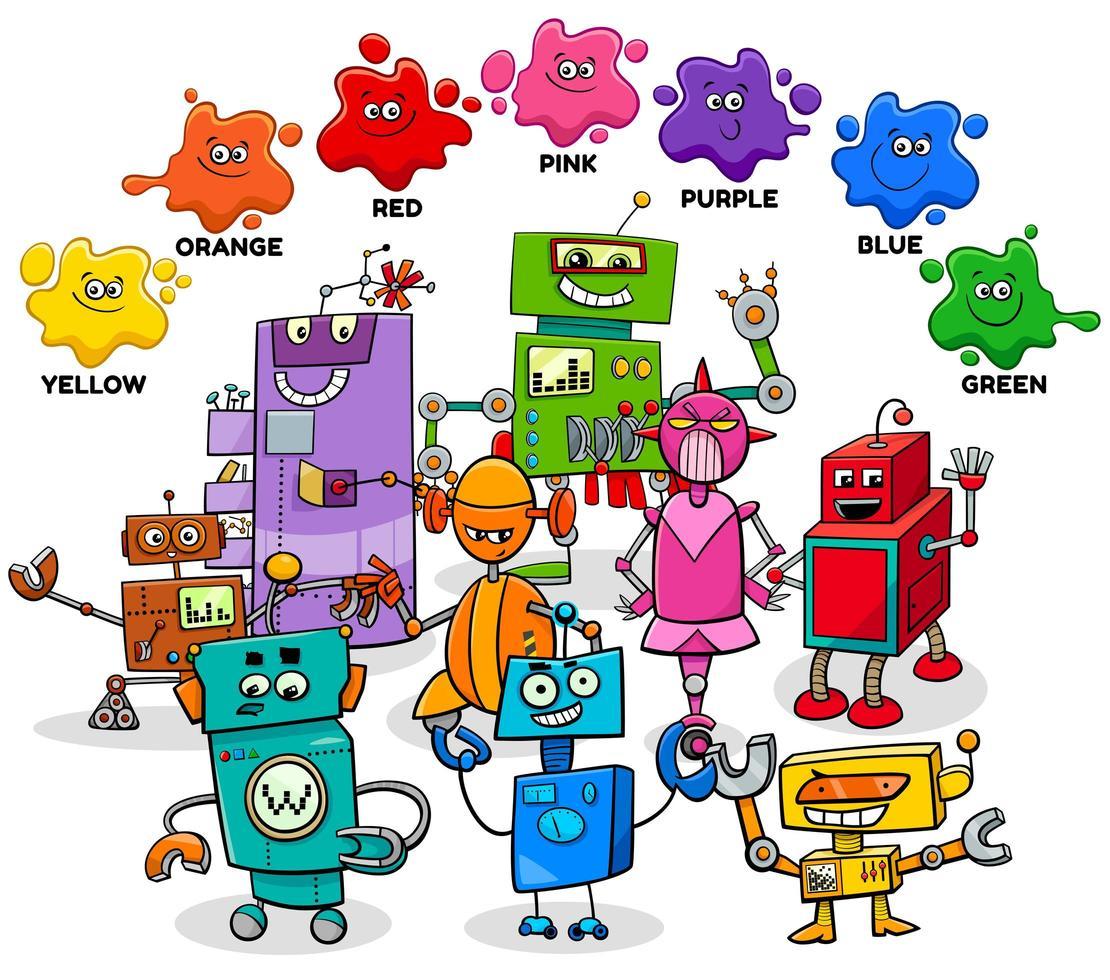 basiskleuren met stripfiguren robot vector