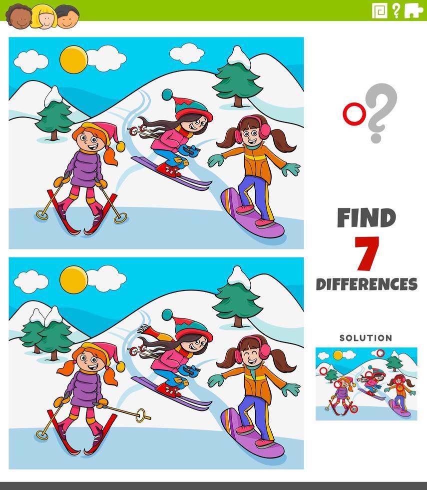 verschillen educatief spel met ski-meisjes vector