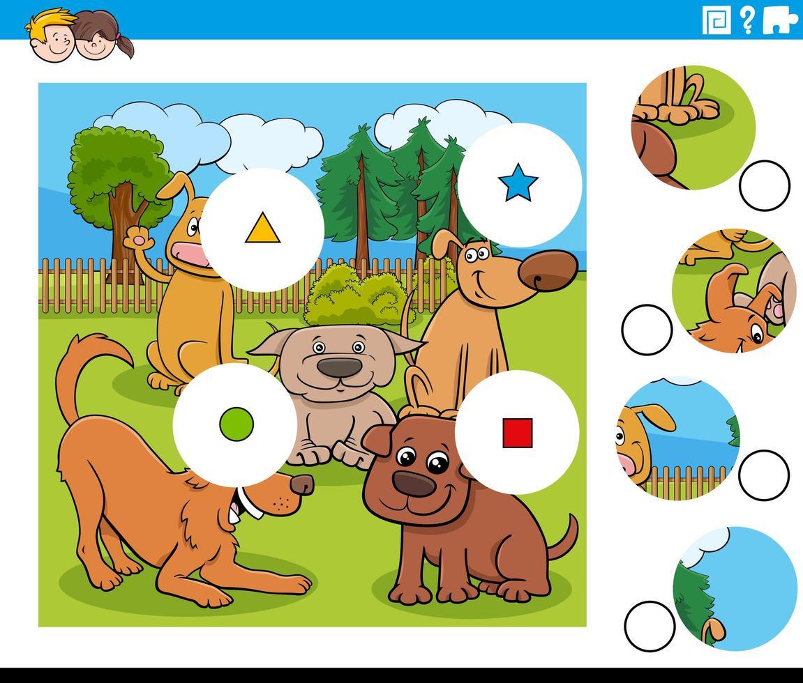 match stukjes puzzel met honden karakters vector