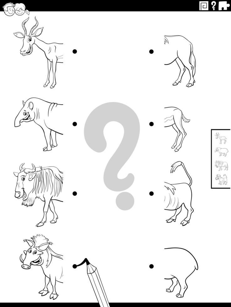 match helften van wilde dieren foto's kleurboek pagina vector