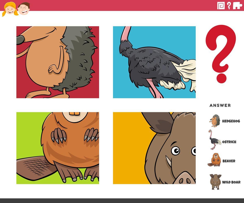 denk dat dierlijke karakters educatief spel voor kinderen vector