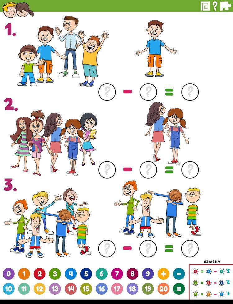 wiskunde aftrekken educatieve taak met komische kinderen vector