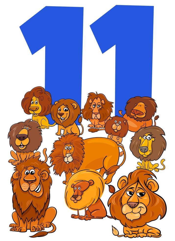 nummer elf voor kinderen met cartoon leeuwen groep vector