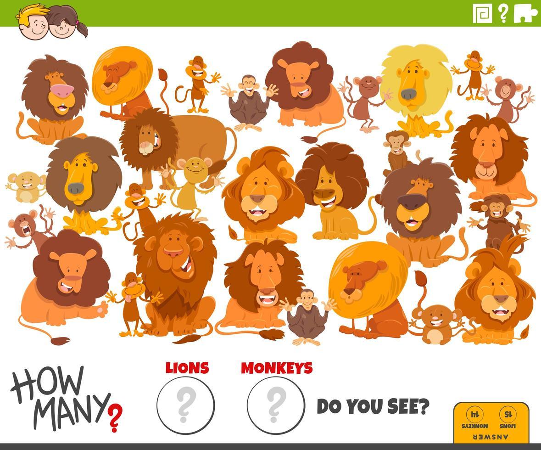 hoeveel leeuwen en apen educatieve taak voor kinderen vector