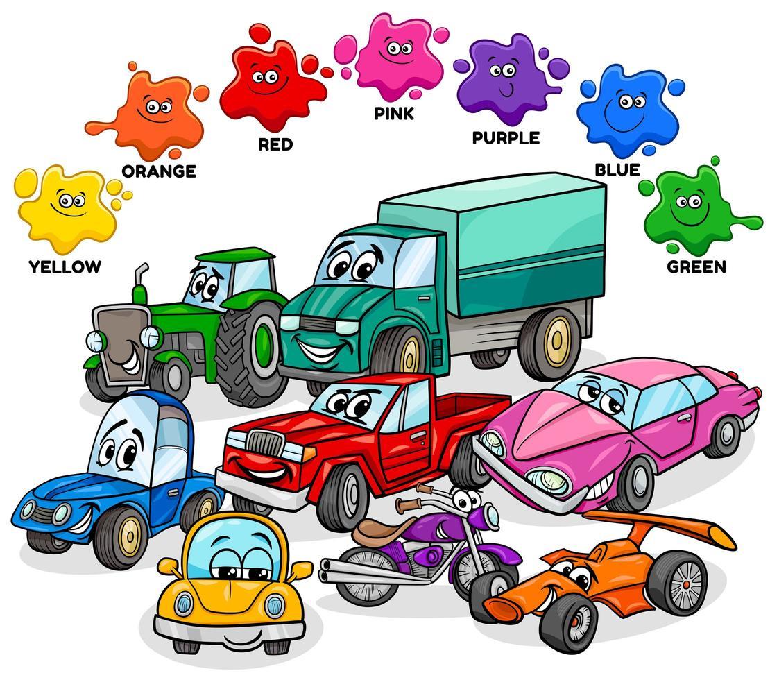 basiskleuren met auto's en transportkarakters groep vector