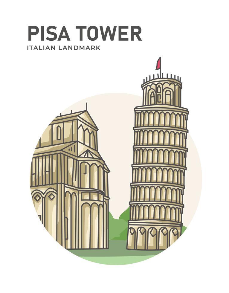 pisa toren italiaans oriëntatiepunt minimalistische cartoon vector
