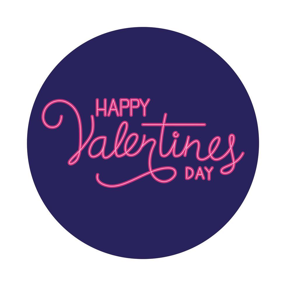 happy Valentijnsdag label in neonlicht, valentijn dag vector