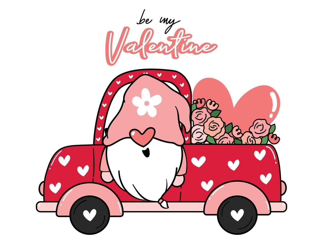 valentijnskabouter in bloemenvrachtwagen vector