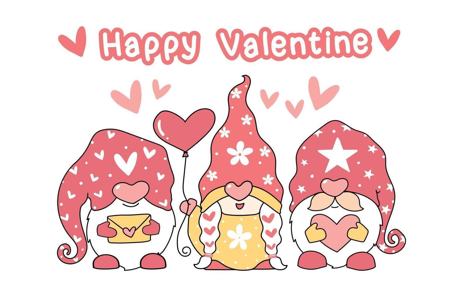 schattige kabouters met een hartvormige ballon en liefdesbrieven vector
