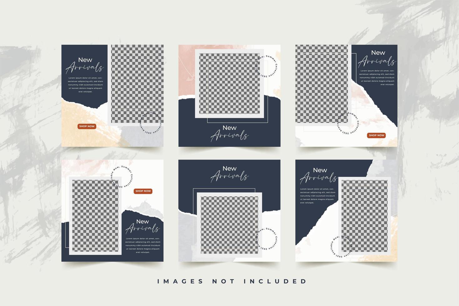 mode sociale media sjabloon ingesteld met abstracte aquarel en gescheurd papier achtergrond vector