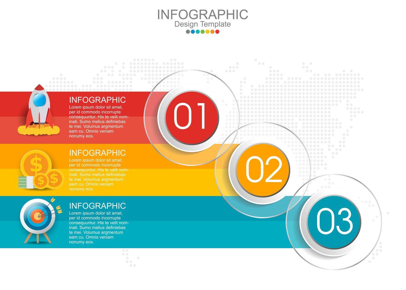 vector infographic sjabloon met drie opties en pictogrammen.