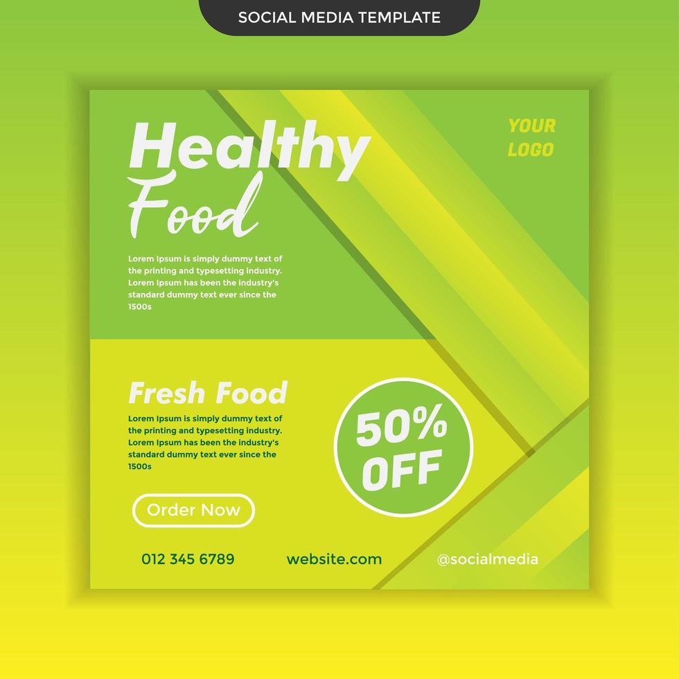 moderne sociale media sjabloon voor gezond eten. makkelijk te gebruiken. premium vector