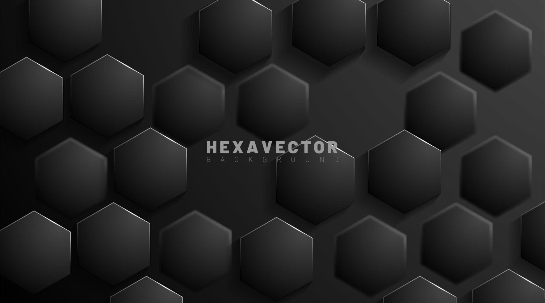 zeshoek zwarte abstract vector achtergrond