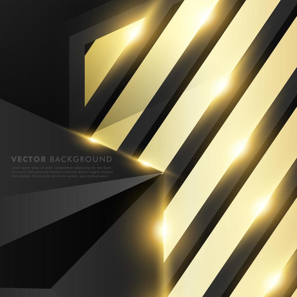 grijze veelhoek met gouden lichteffect en gouden rechthoekachtergrond vector
