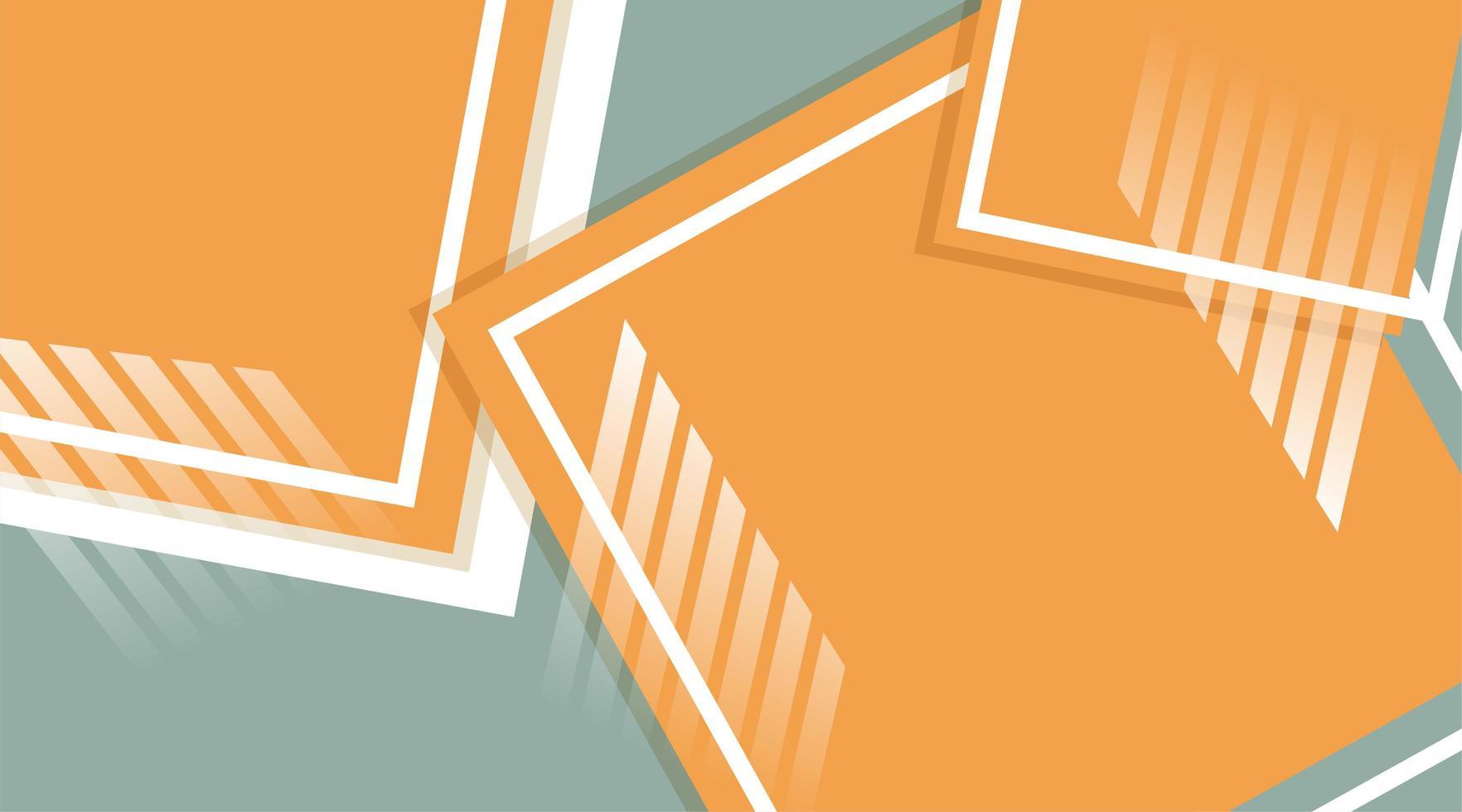 abstracte vector achtergrond. oranje vierkant met overlappende lijnen
