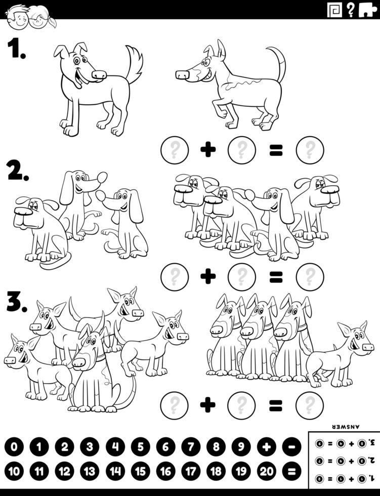 wiskundetoevoeging educatieve taak met hondenkarakters vector