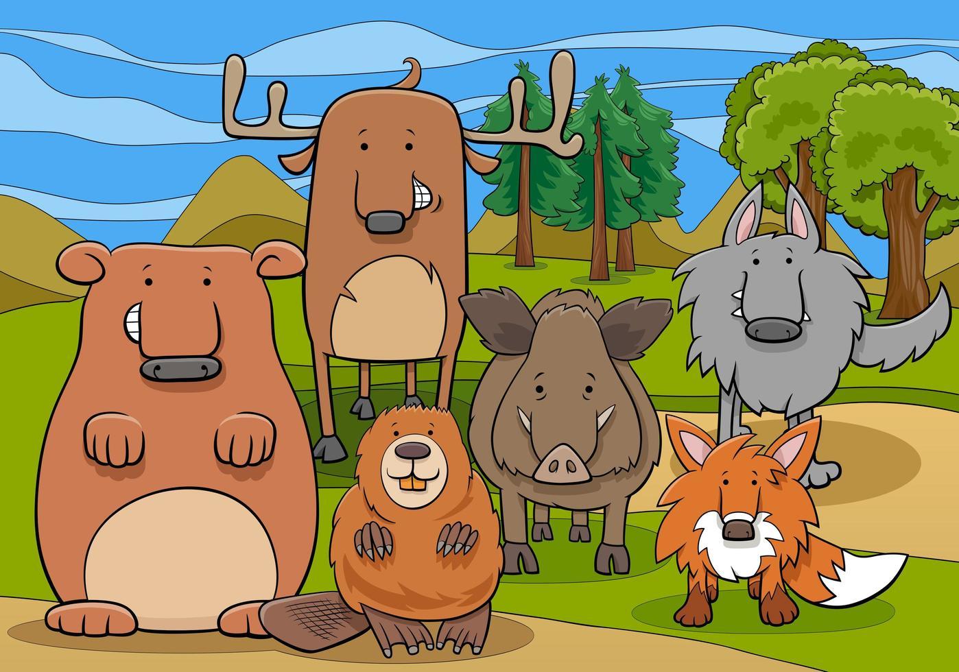 wilde zoogdieren dierlijke karakters groep cartoon afbeelding vector