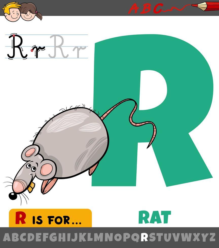 letter r werkblad met cartoon rat vector
