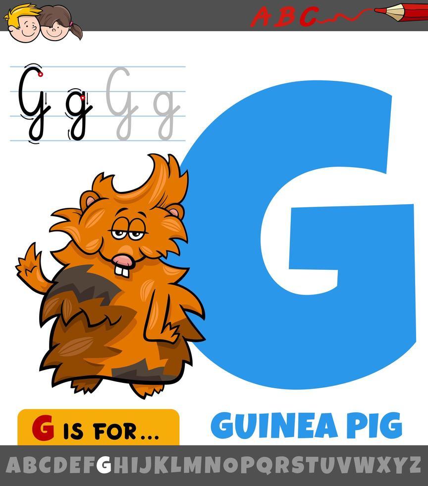 letter g werkblad met cartoon cavia vector