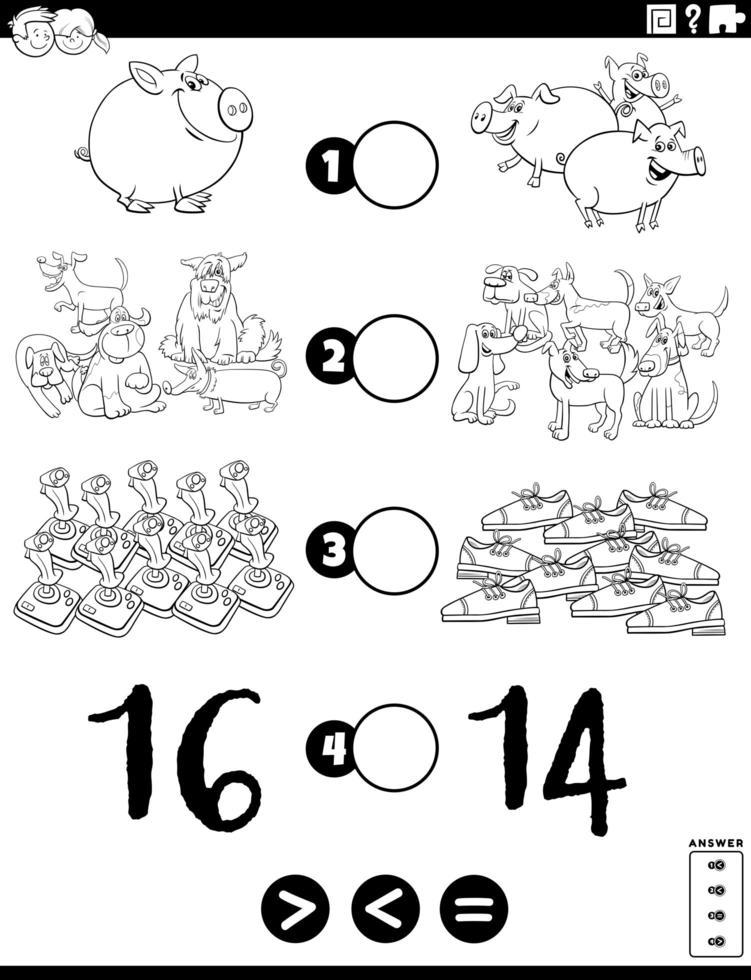 grotere minder of gelijke taak voor kinderen kleurboekpagina vector