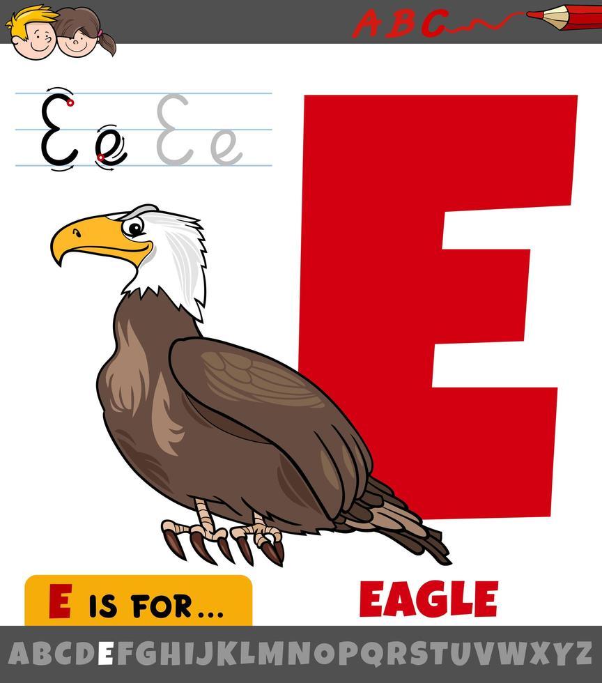 letter e werkblad met cartoon eagle bird vector