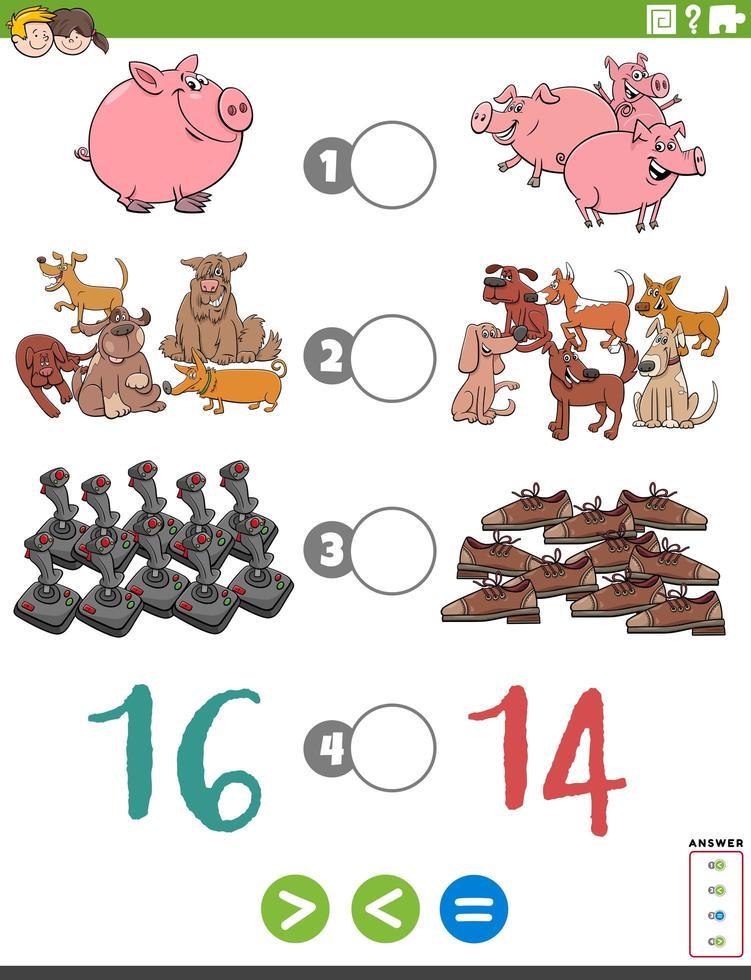 meer minder of gelijk cartoonspel voor kinderen vector