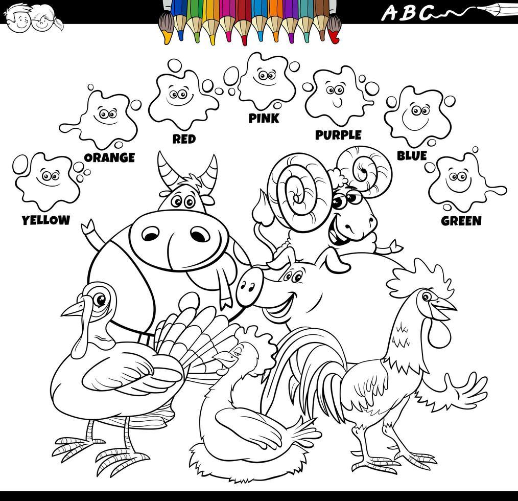 kleurboek met basiskleuren met boerderijdieren vector