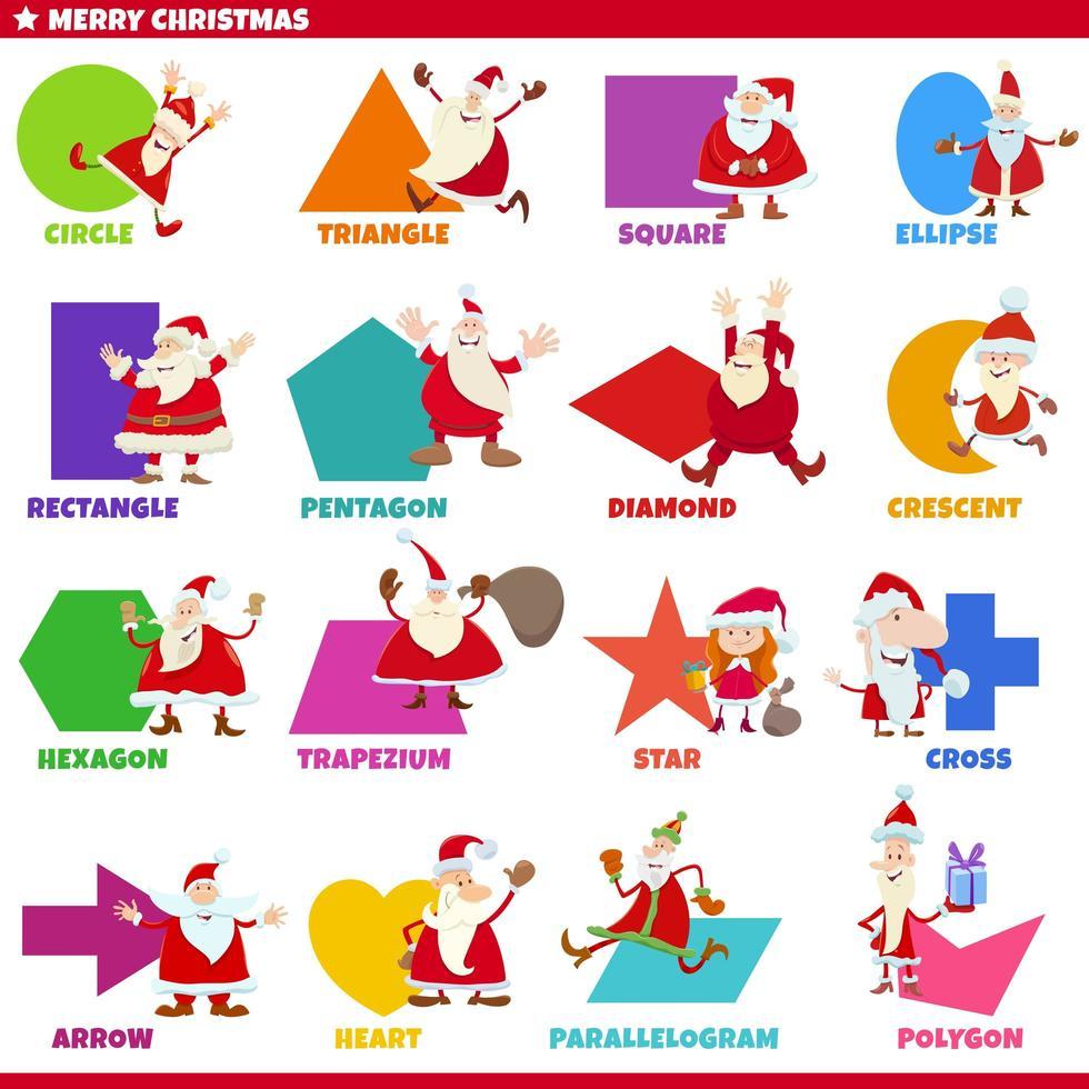 geometrische basisvormen met karakters van de kerstman vector