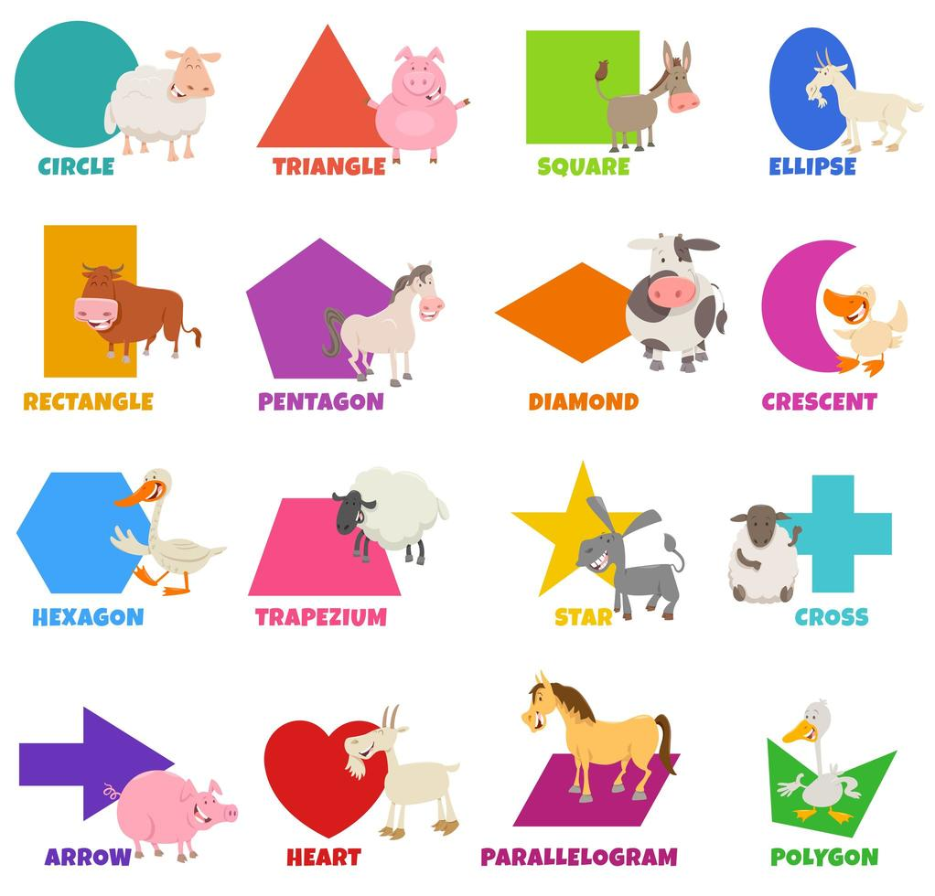 geometrische basisvormen met set fanny boerderijdieren vector