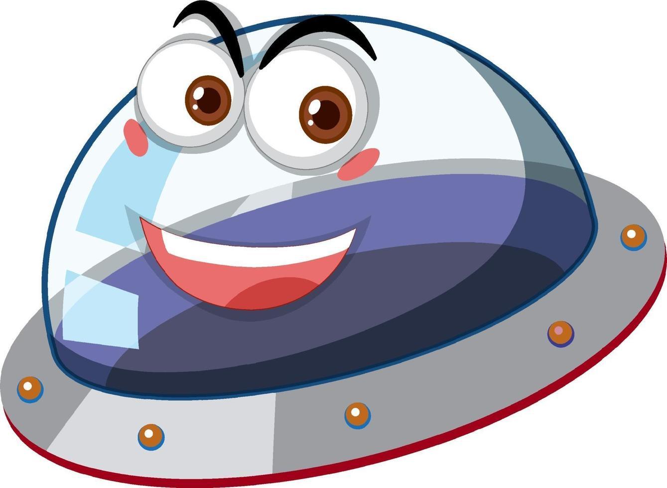 ufo met blij gezicht expressie op witte achtergrond vector