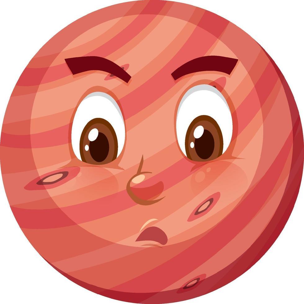 Mars stripfiguur met ondeugende gezichtsuitdrukking op witte achtergrond vector