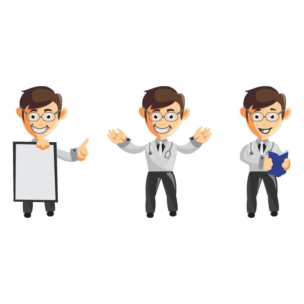 set van schattige cartoon mannelijke arts in verschillende poses vector