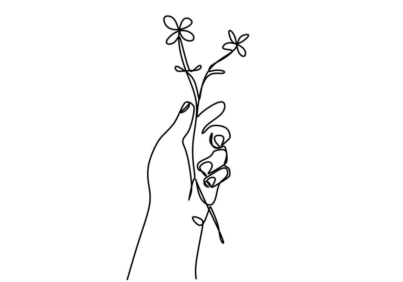 doorlopende lijntekening van hand met mooie bloem minimalistische stijl geïsoleerd op een witte achtergrond. geweldig bloemsymbool van romantische liefde. vector ontwerp illustratie
