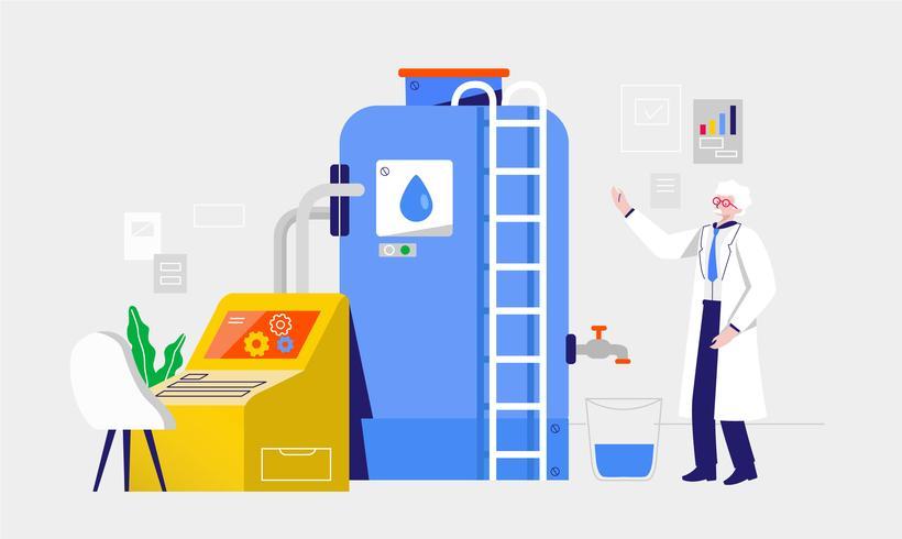 Schone water filter proces vectorillustratie vector