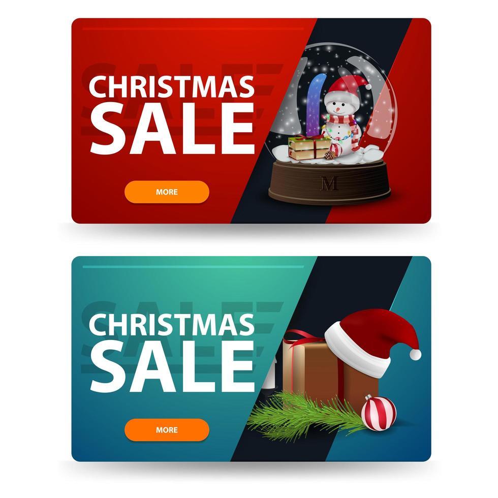 korting kerst banners met geschenken geïsoleerd op een witte achtergrond. rode en groene sjablonen vector