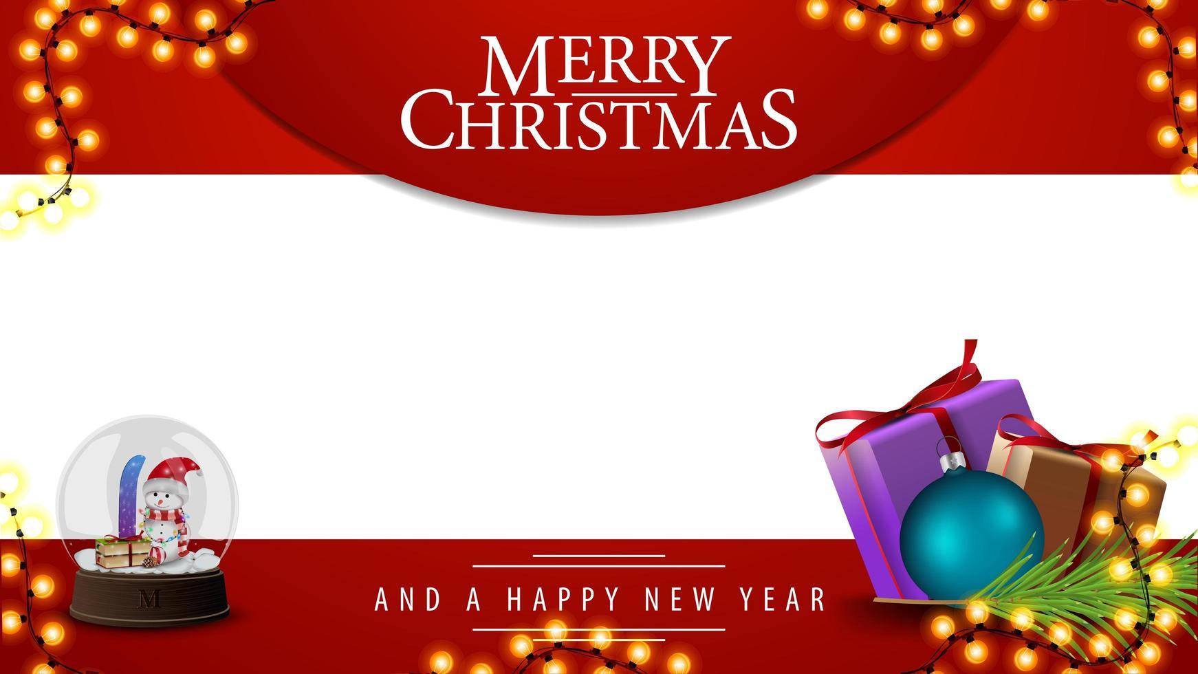 vrolijk kerstfeest, rood en wit sjabloon voor uw kunsten met cadeautjes en sneeuwbol met sneeuwmannen erin vector