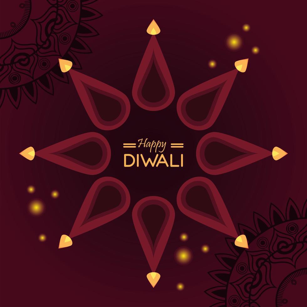 gelukkige diwali-viering met kaarsen rond belettering vector