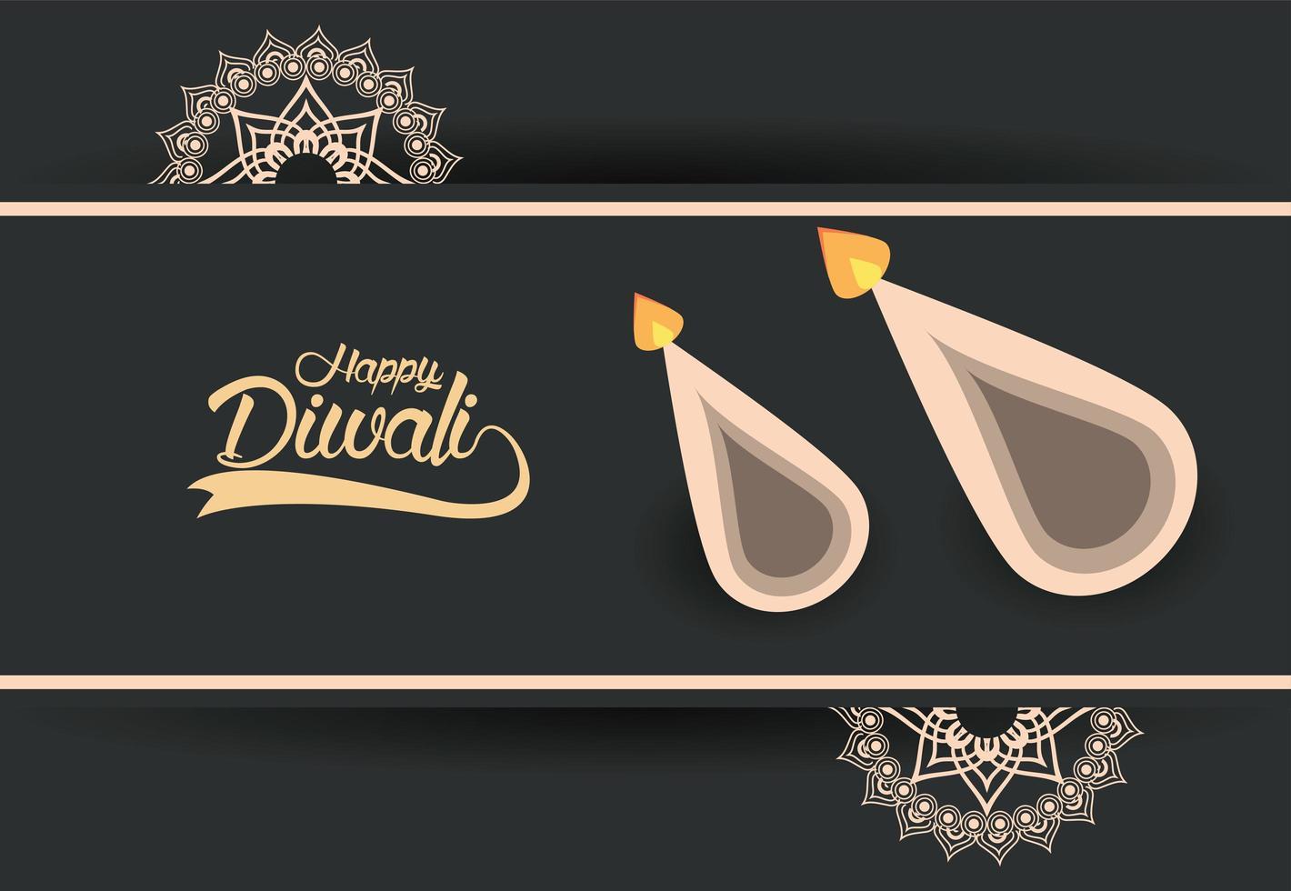 gelukkige diwali-viering met twee kaarsen en gouden mandala's vector