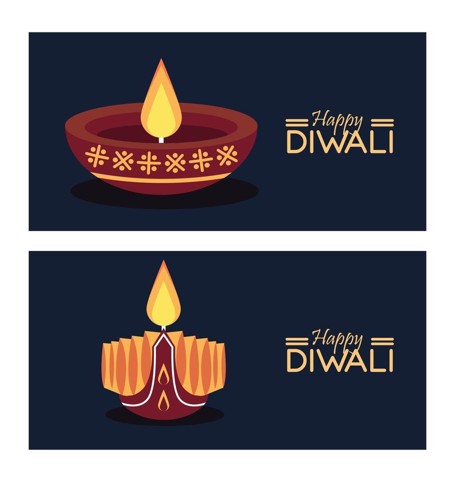 gelukkige diwali-viering met twee kaarsen en belettering vector
