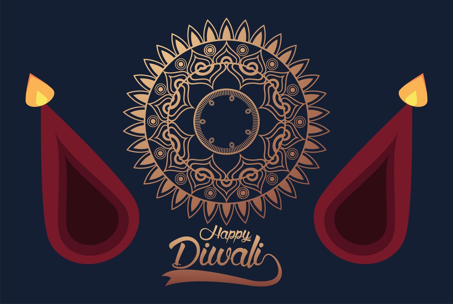 gelukkige diwali-viering met twee kaarsen en gouden mandala vector
