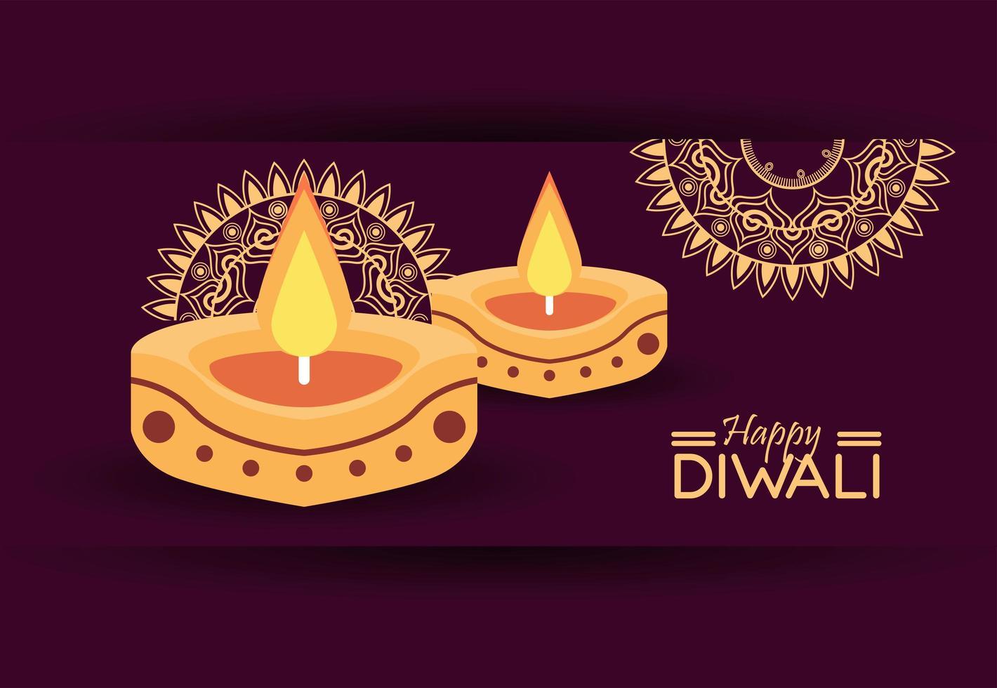 gelukkige diwali-viering met twee kaarsen en mandala's vector