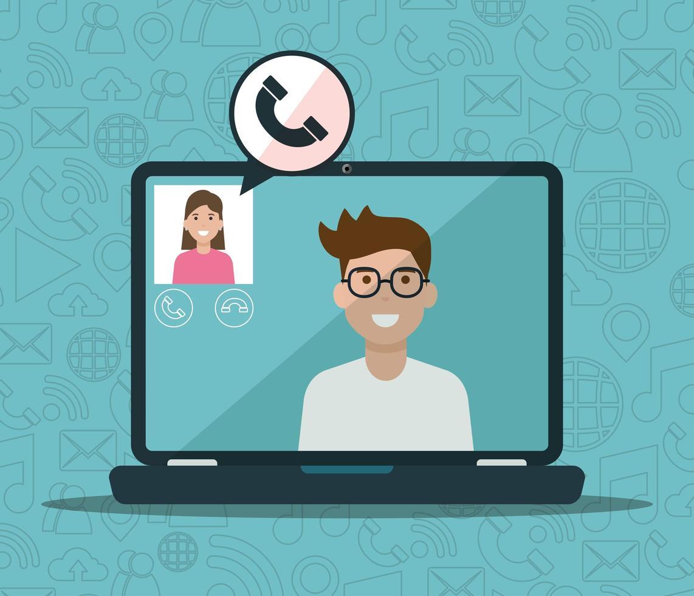 man en vrouw op laptop in een videogesprek vector