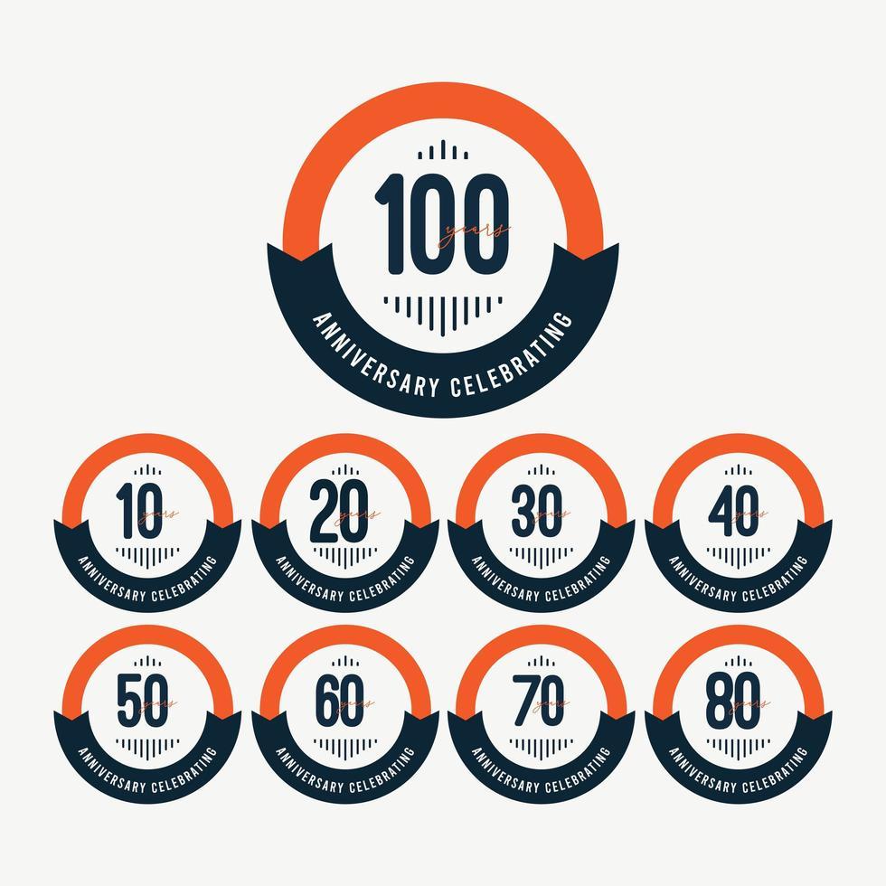 100ste verjaardag vieringen retro oranje vector sjabloon ontwerp illustratie